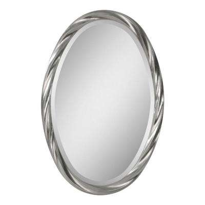 Luna 30 in. x 20 in. Twisted Silver Leaf Framed Mirror