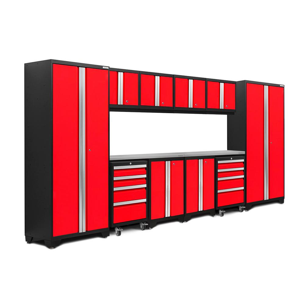 NewAge Products Bold Series 3.0 156 in. W x 77.25 in. H x 18 in. D 24-Gauge Steel Garage Cabinet Set in Red (12-Piece)