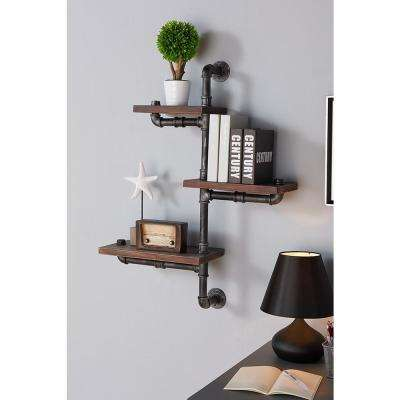 30 in. Silver Orton Industrial Walnut Wood Floating Wall Shelf