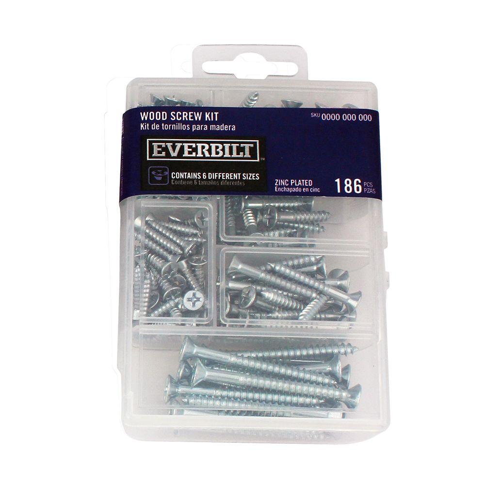 Everbilt 147-Piece Zinc-Plated Wood Screw Kit