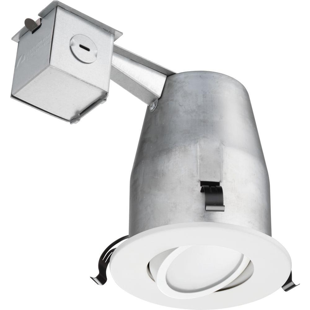 Lithonia Lighting 4 in. White Recessed Gimbal LED Downlighting Kit ...