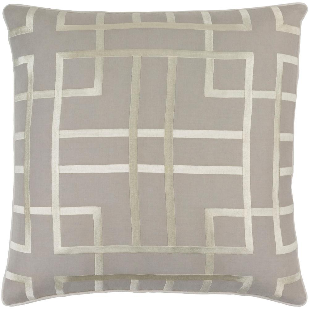 Stenhouse Medium Gray Geometric Polyester 20 in. x 20 in. Throw Pillow