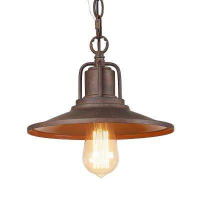 1-Light Rust Ceiling Pendant Light