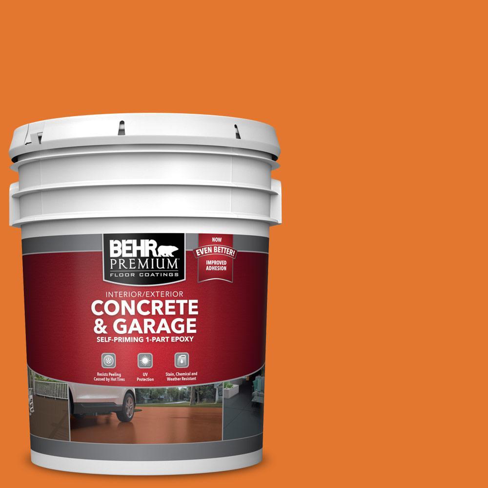 BEHR PREMIUM 5 gal. #OSHA-3 OSHA SAFETY ORANGE Self-Priming 1-Part Epoxy Satin Interior/Exterior Concrete and Garage Floor Paint