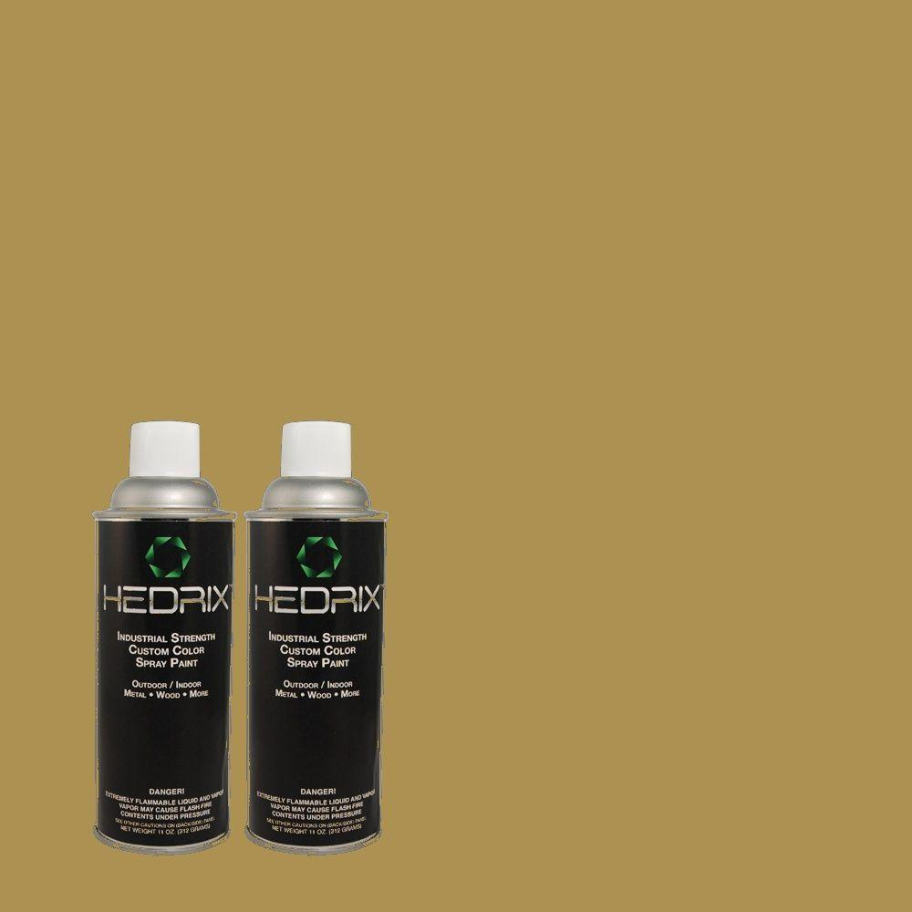 Hedrix 11 oz. Match of 2B1-6 Olive Tree Semi-Gloss Custom Spray Paint (2-Pack)