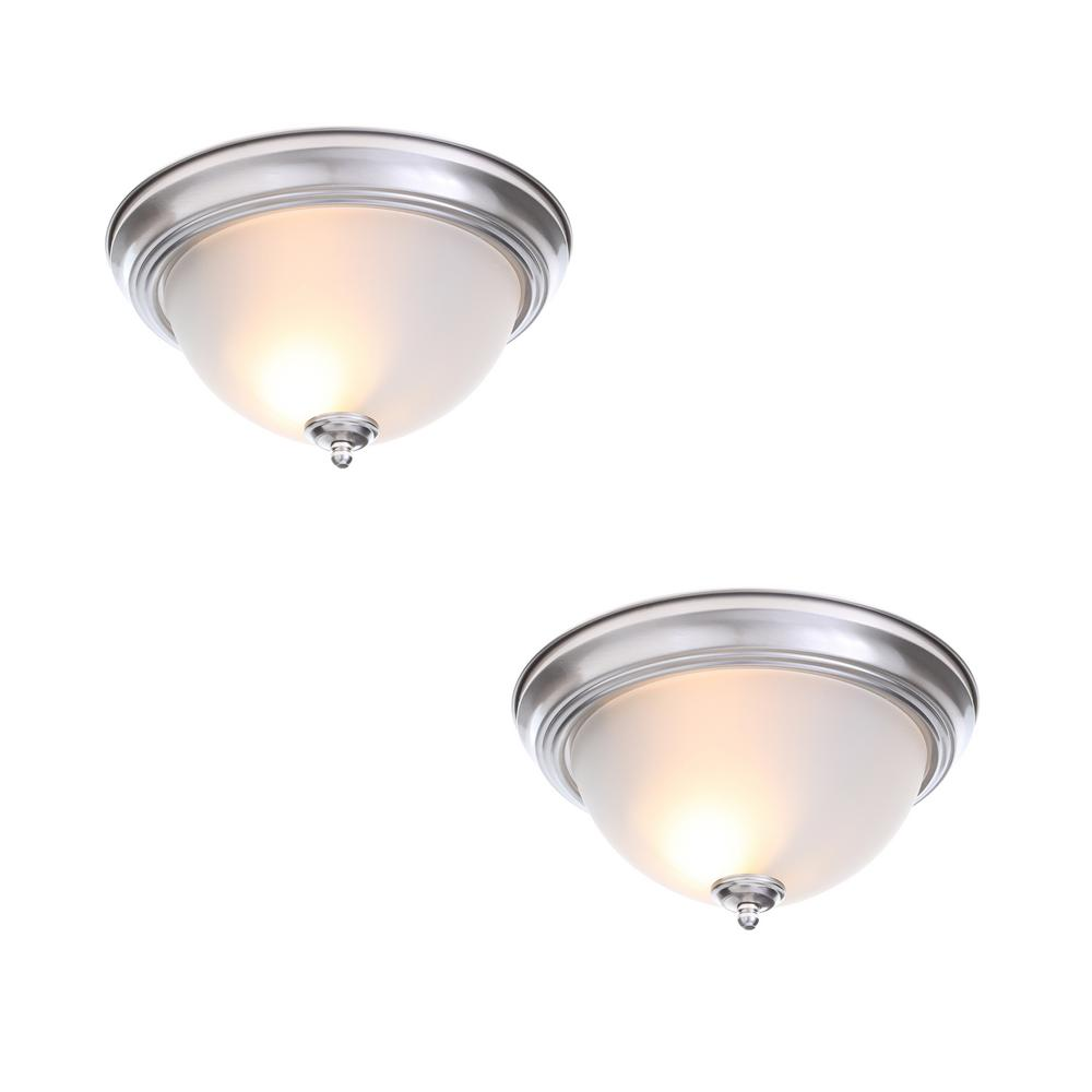 Commercial Electric 13 In 2 Light Brushed Nickel Flush