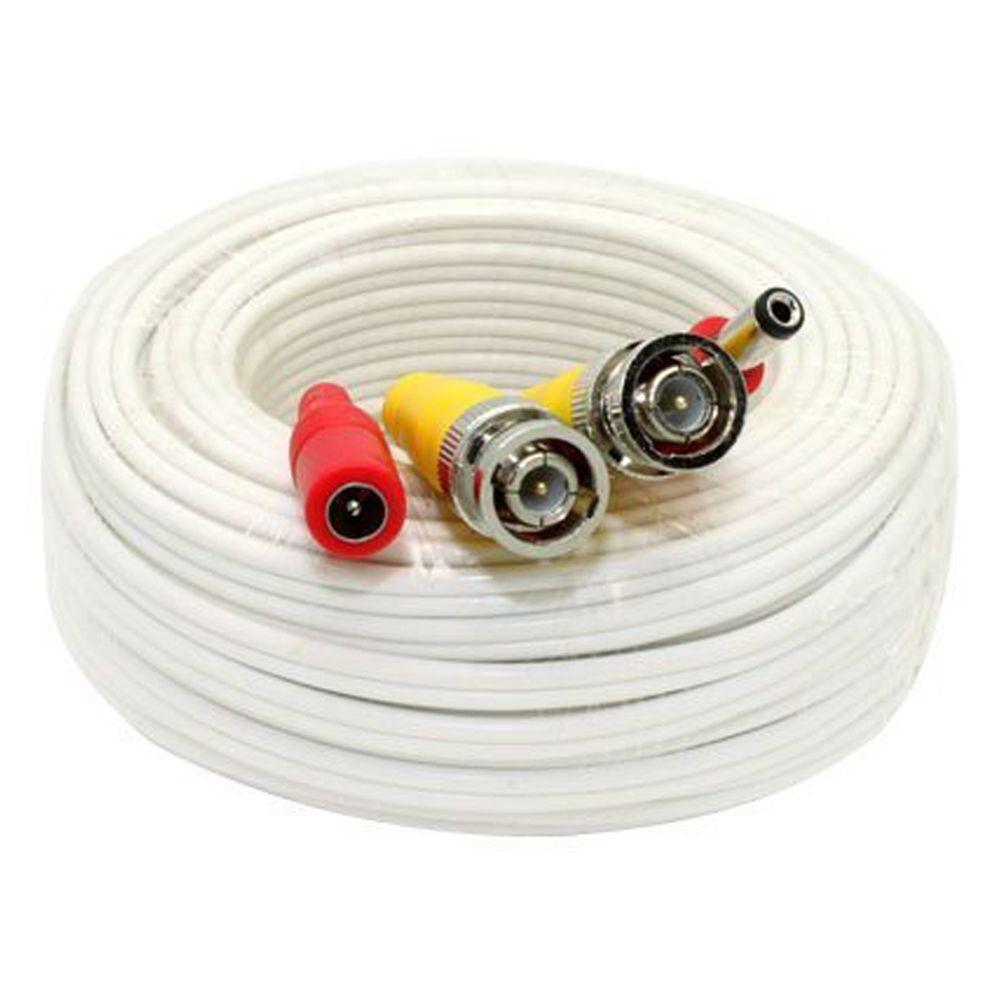 100 ft. Premade Premium Siamese Power Video Cable - White