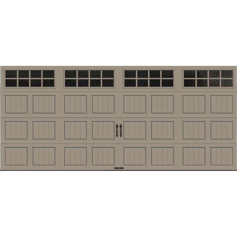 Clopay Gallery Collection 16 ft. x 7 ft. 18.4 R-Value Intellicore Insulated Sandtone Garage Door with SQ24 Window