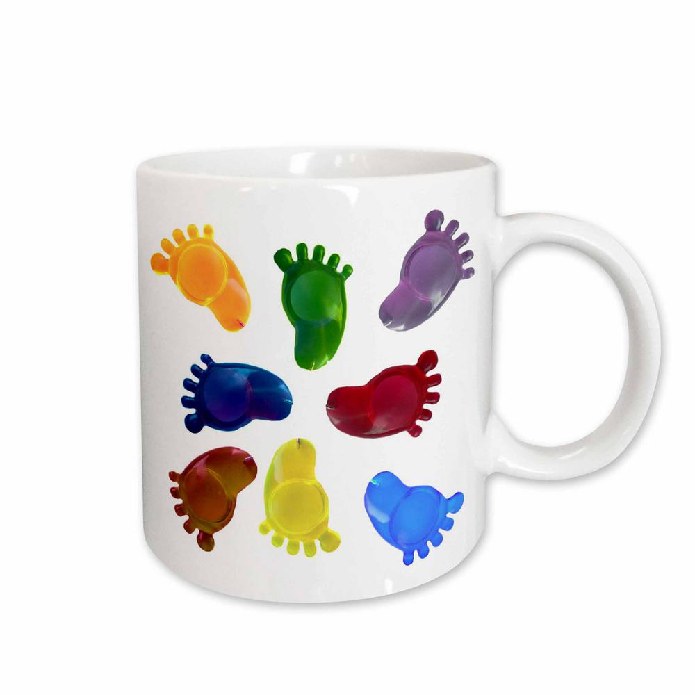 3dRose Sandy Mertens Right Feet Designs 11 oz. White Ceramic Walking in All  Directions Pattern