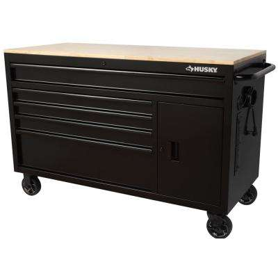 56 in. W x 24.5 in. D 5-Drawer 1-Door Tool Chest Mobile Workbench with Solid Wood Top in Gloss Black
