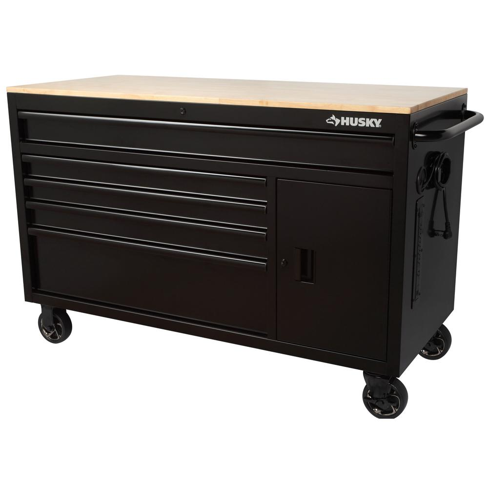 Husky 56 in. W 5-Drawer 1-Door, Deep Tool Chest Mobile Workbench in Gloss Black with Hardwood Top