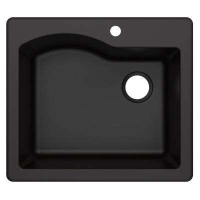 Quarza Drop-in/Undermount Granite Composite 25 in. 1-Hole Single Bowl Kitchen Sink in Black
