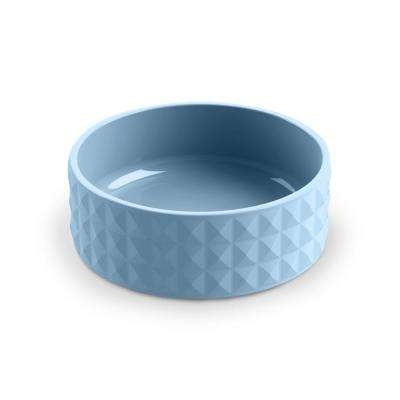 Diamond Ceramic Stoneware Small Pet Bowl in Blue