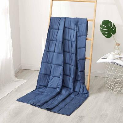 Navy Cotton 15 Lbs. Twin Weighted Blanket
