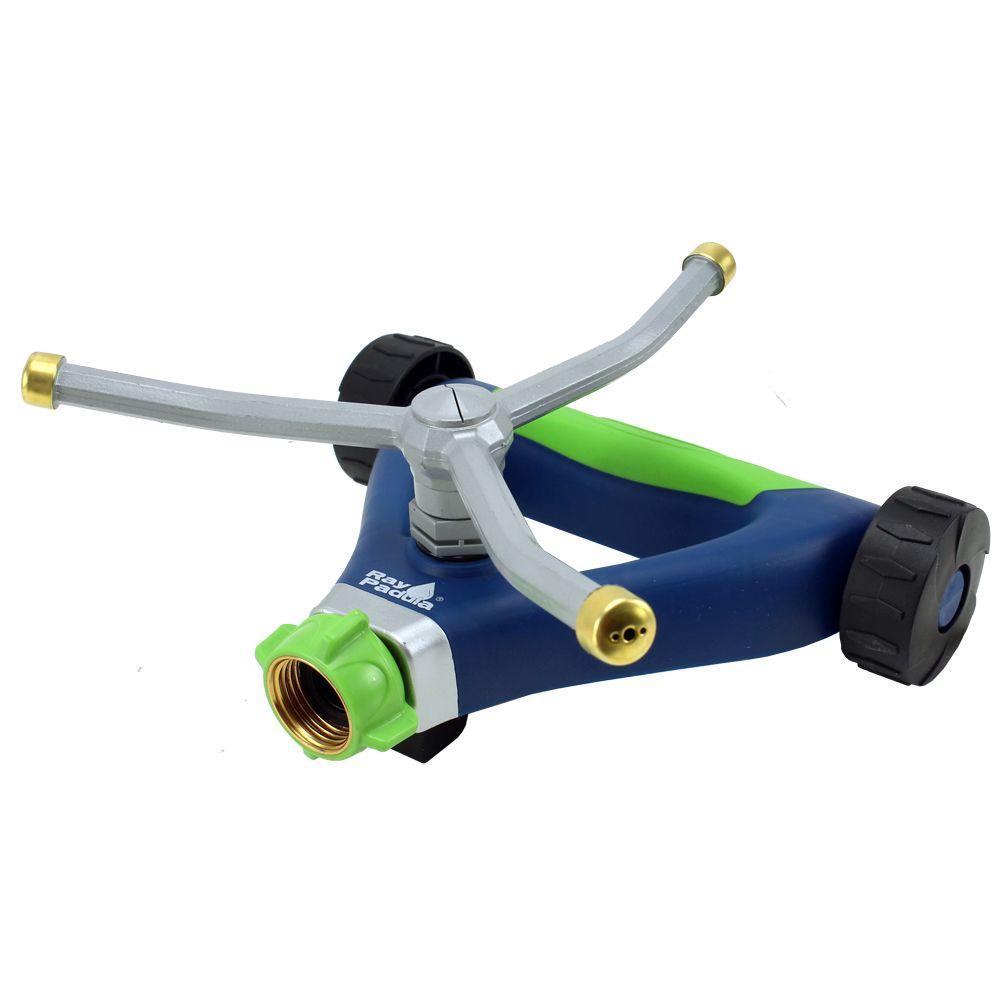 Metal 3 Arm Revolving Spinning Sprinkler on Wheel Base