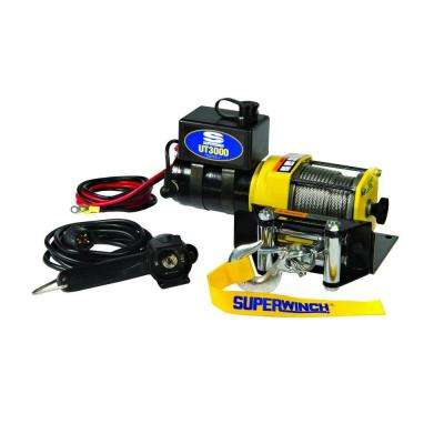 UT3000 12-Volt DC Utility Winch with 4-Way Roller Fairlead and 12 ft. Remote