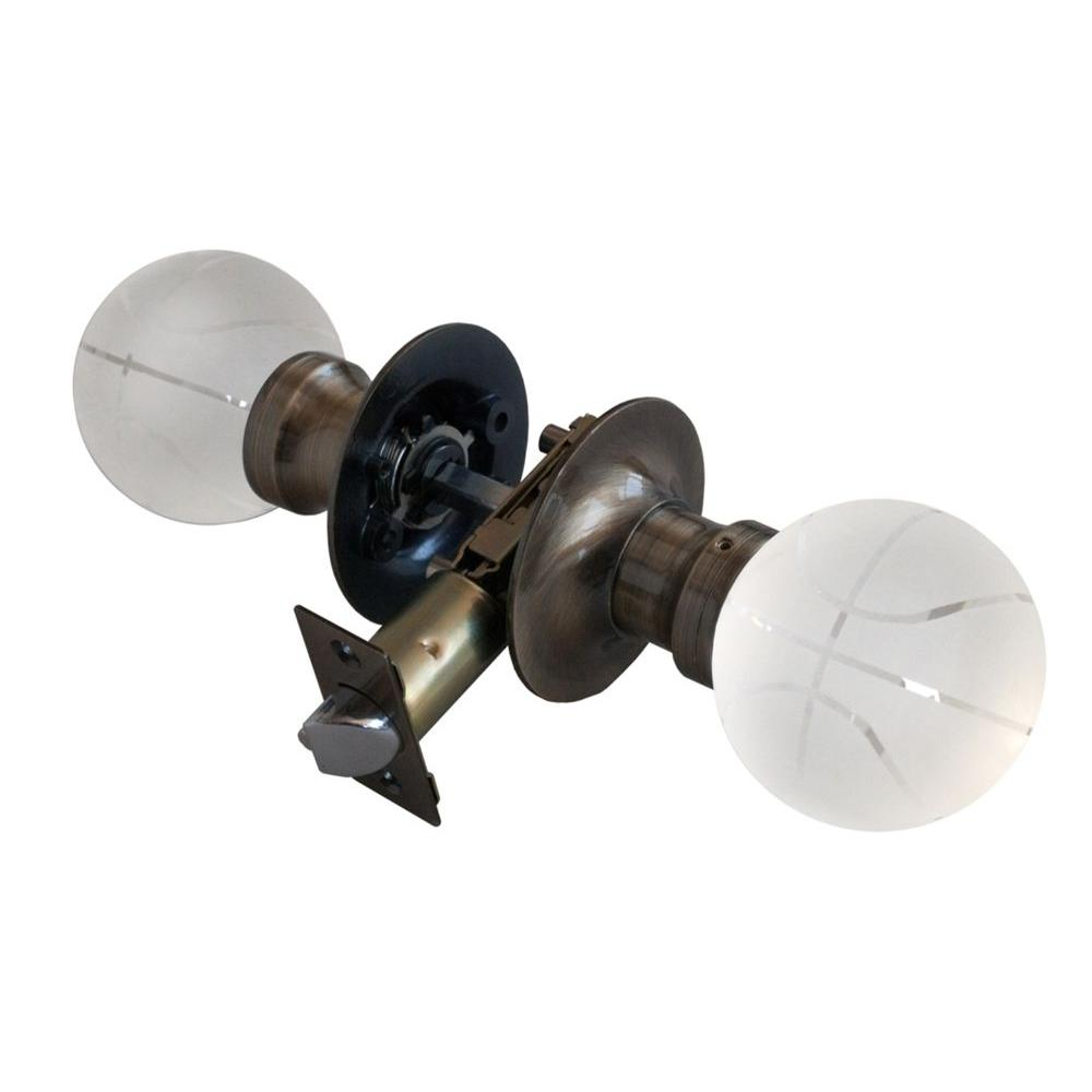 Krystal Touch of NY Basketball Crystal Antique Brass Passive Door Knob with LED Mixing Lighting Touch Activated
