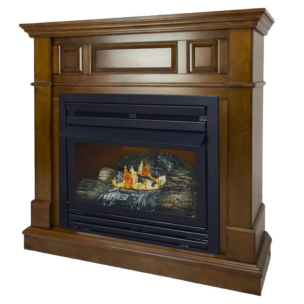 500 BTU 42 in. Convertible Ventless Natural Gas Fireplace in Heritage-VFF-PH26NG-2H1 - The Home Depot