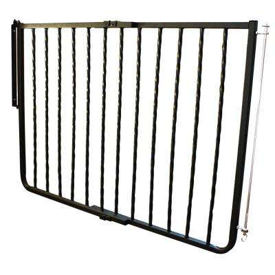 30 in. H x 27 in. - 42.5 in. W x 2 in. D Black Wrought Iron Decor Gate