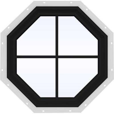 24 in. x 24 in. V-2500 Series Bronze FiniShield Vinyl Fixed Octagon Geometric Window with Colonial Grids/Grilles