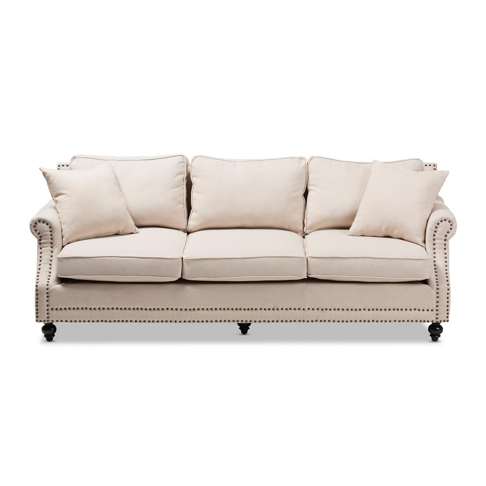 Baxton Studio Mckenna Beige Linen Sofa