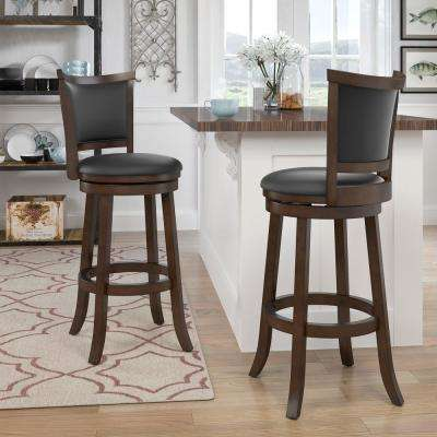 CorLiving Woodgrove 29 inch Brown Wood Bar Height Swivel Bonded Leather Seat Bar Stool (Set of 2) by CorLiving
