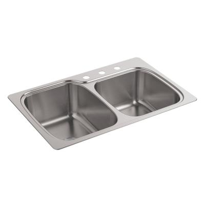 Verse Drop-In Stainless Steel 33 in. 3-Hole Double Bowl Kitchen Sink
