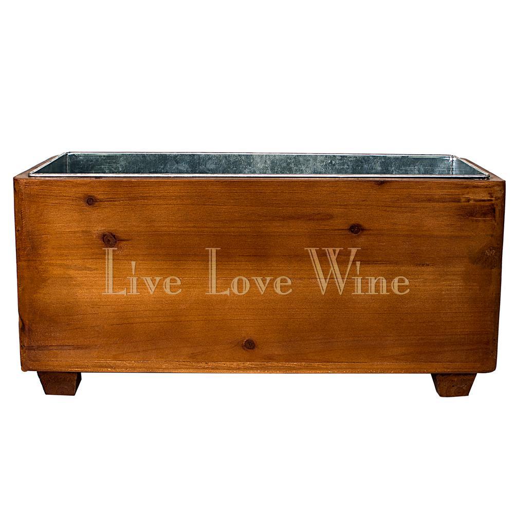 "3-Gal. ""Live Love Wine"" Wooden Wine Trough"