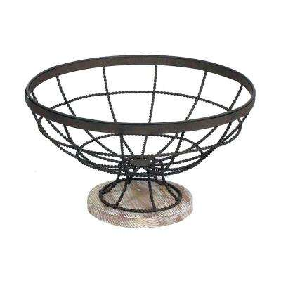 Beachcomber 13 in. Dark Gray Iron and Bleached Wood Decorative Bowl