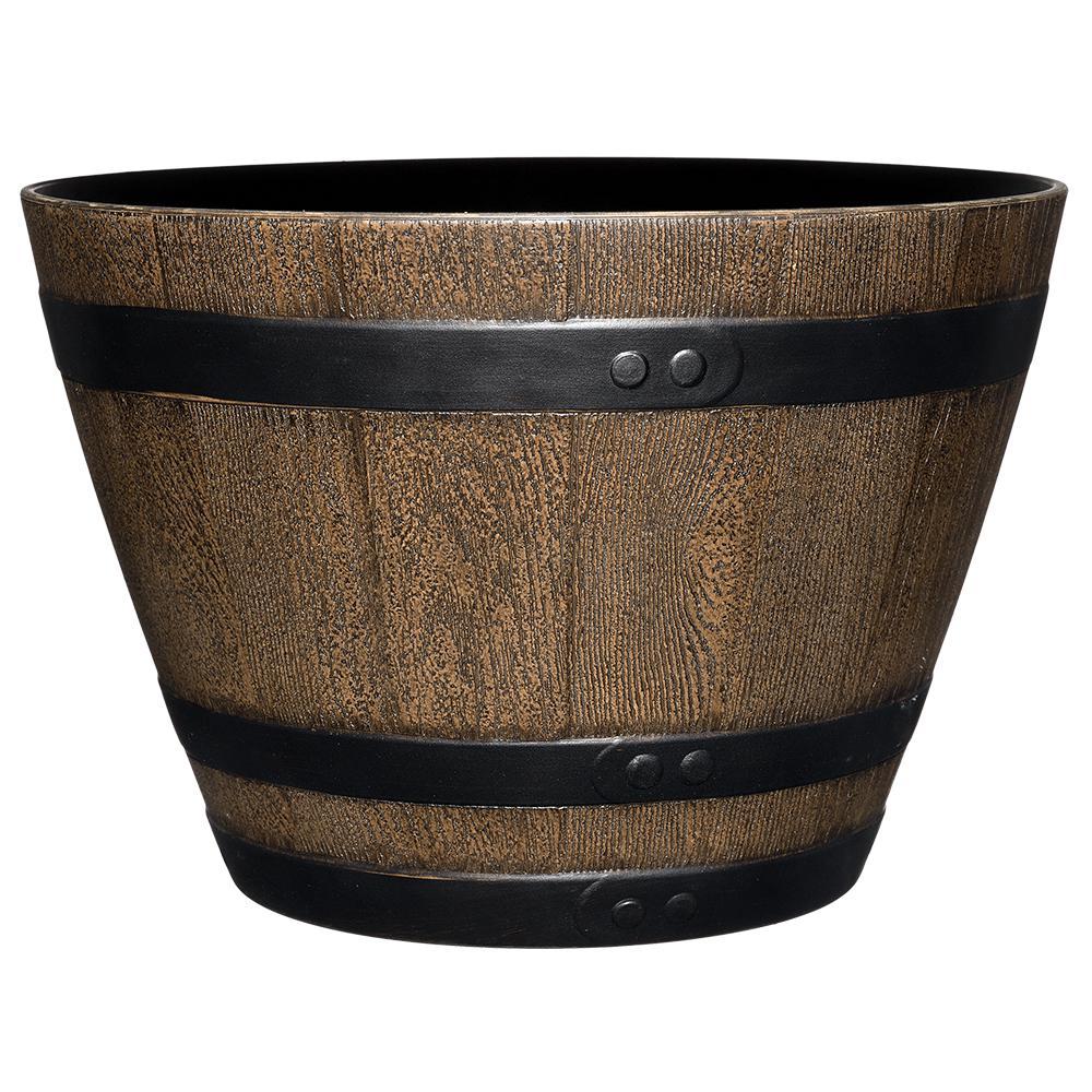 Jameson 15 in. Kentucky Walnut Resin Whiskey Barrel Planter