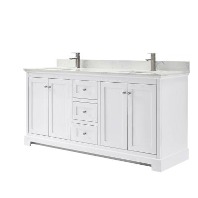 Ryla 72 in. W x 22 in. D Double Bath Vanity in White with Cultured Marble Vanity Top in Carrara with White Basins