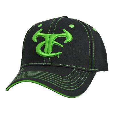 Men's Adjustable Black Baseball Cap with, Neon Green