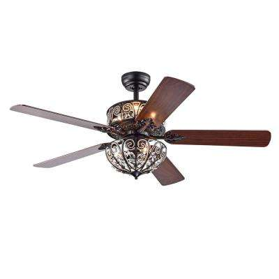 Tisaphon 52 in. Indoor Matte Black Remote Controlled Ceiling Fan with Light Kit