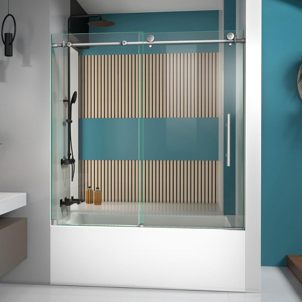 DreamLine Enigma-X 55 to 59 in. x 62 in. Frameless Sliding Tub Door in Brushed Stainless Steel