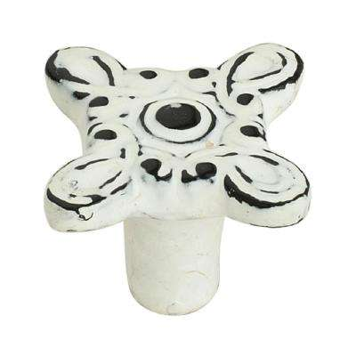 Art-De-Dew 1-2/5 in. (35 mm) Distressed White Patina Cabinet Knob