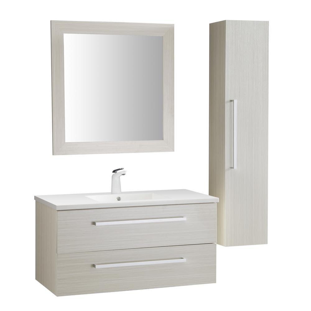 ANZZI Conques 39 in. W x 20 in. H Bath Vanity in Rich White with Ceramic Vanity Top in White with White Basin and Mirror