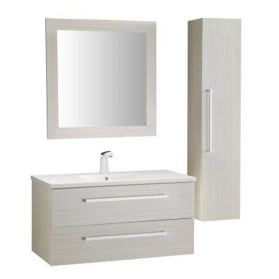 Conques 39 in. W x 20 in. H Bath Vanity in Rich White with Ceramic Vanity Top in White with White Basin and Mirror
