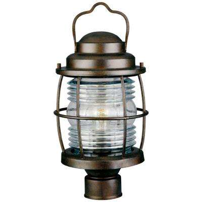 Beacon 1-Light 18 in. Gilded Copper Post Lantern