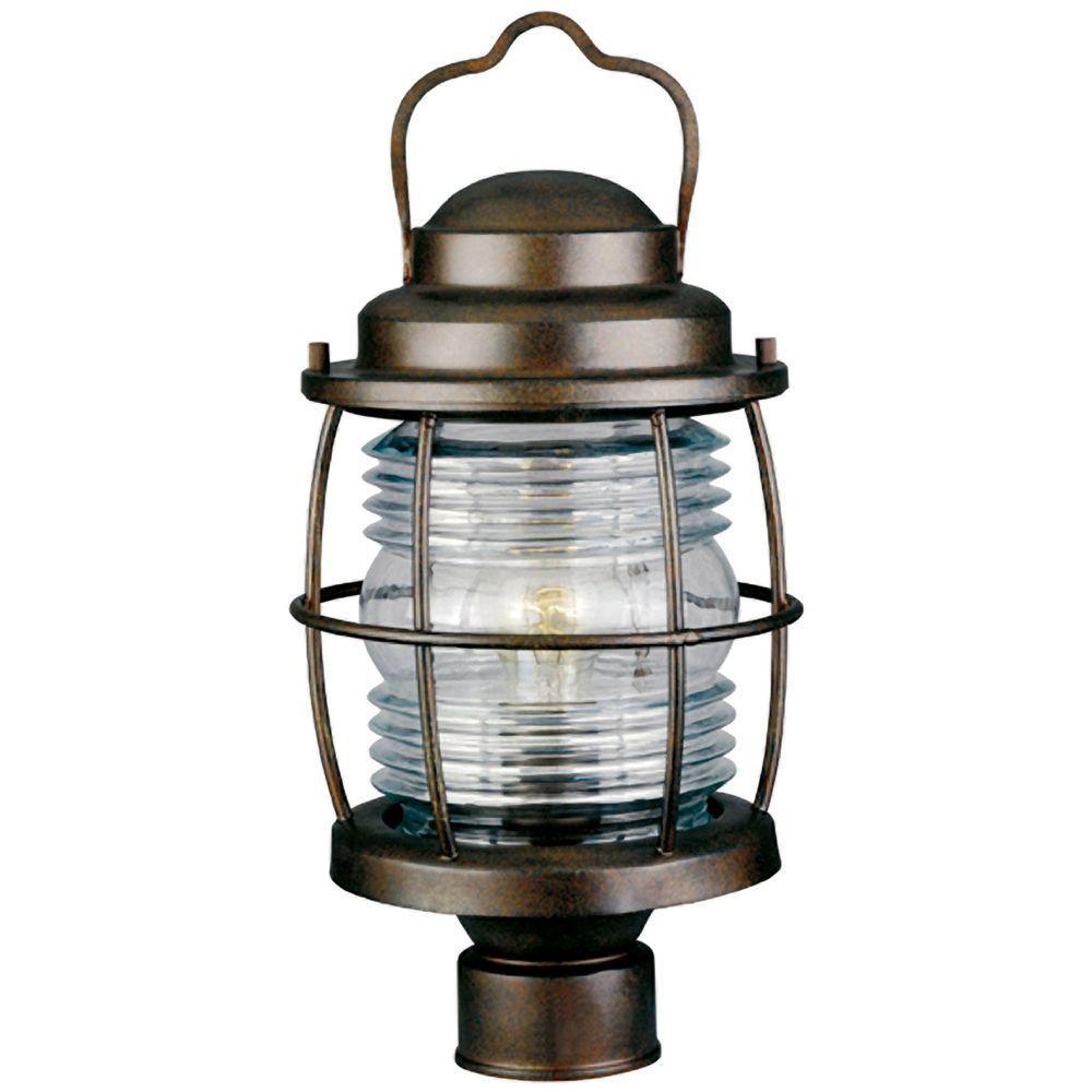 Kenroy Home Beacon 1-Light 18 in. Gilded Copper Post Lantern