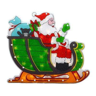 1.5 in. Christmas Window Silhouette Lighted Double-Sided Shimmering Santa in Sleigh