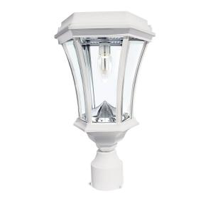 Victorian Bulb Series Single White Integrated LED Outdoor Solar Lamp Post Light with 3-Mounting Options