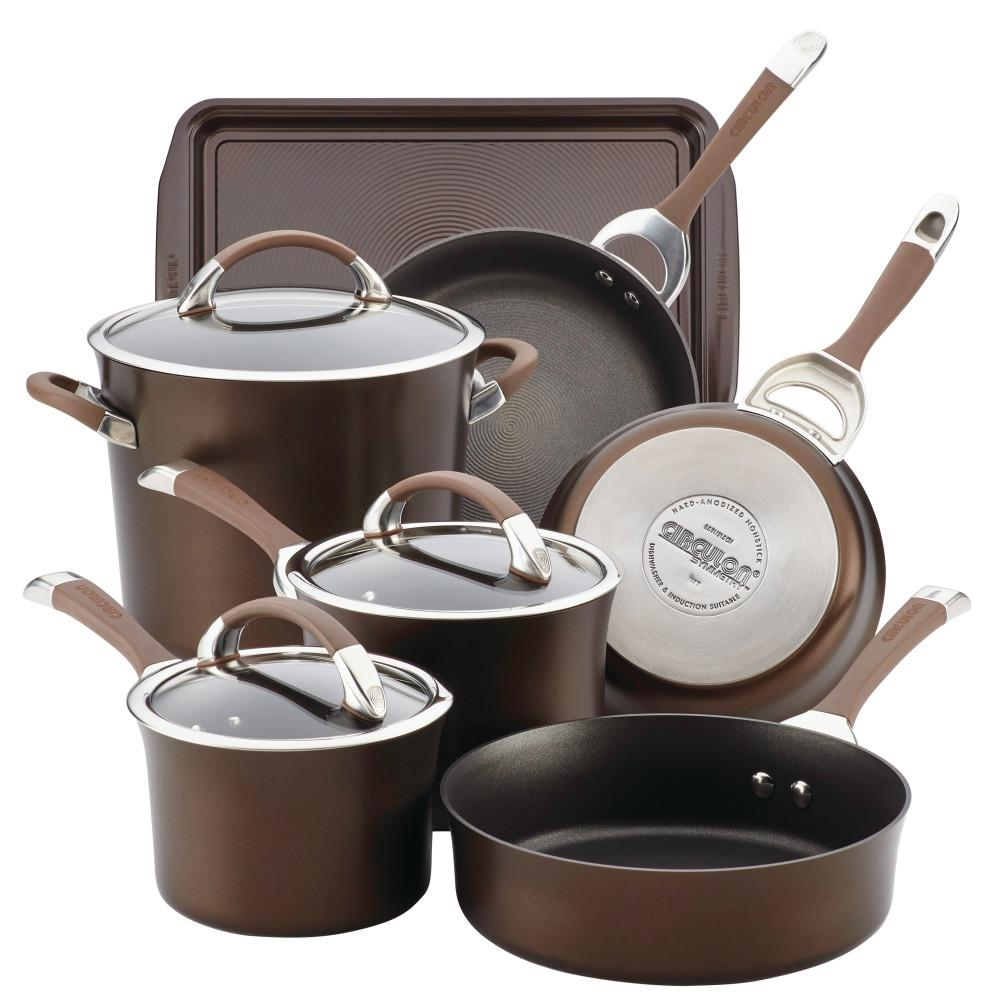 Symmetry 9-Piece Chocolate Hard Anodized Nonstick Cookware Set plus Bonus