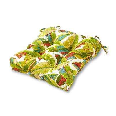 Palm Leaves Multi Square Tufted Outdoor Seat Cushion