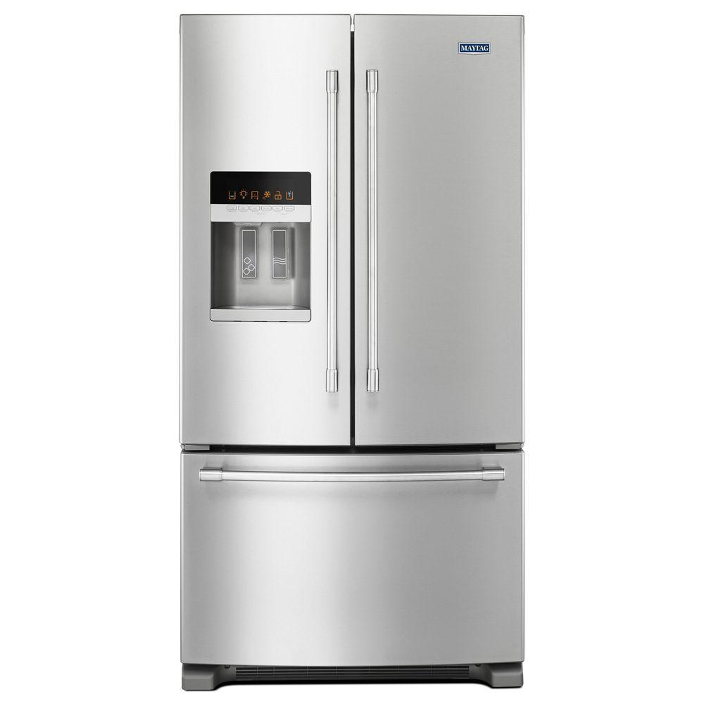 Maytag 36 in. W 24.7 cu. ft. French Door Refrigerator in Fingerprint Resistant Stainless Steel-MFI2570FEZ - The Home Depot