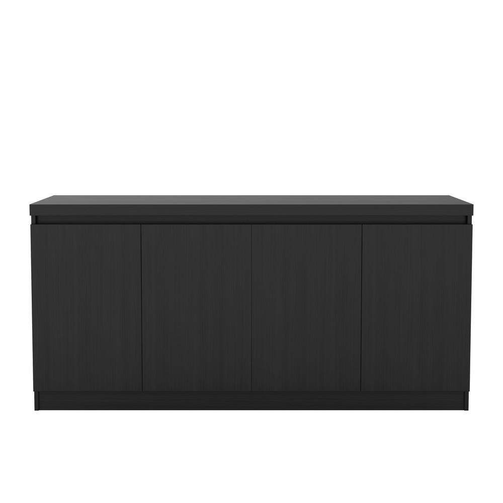 manhattan comfort viennese 62 99 in black matte 6 shelf buffet rh homedepot com black dining room buffet furniture black buffet hutch furniture