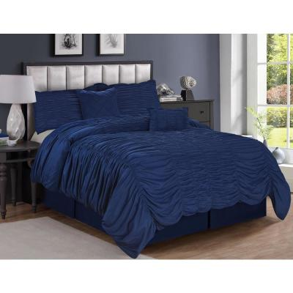 Olivia 5-Piece Blue Queen Texture Bedding Set