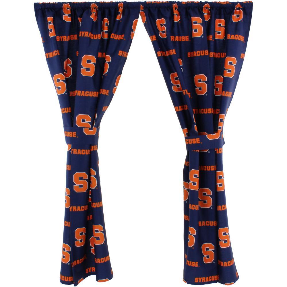 42 in. W x 63 in. L Syracuse Orangemen Cotton With Tie Back Curtain in Orange   (2 Panels)