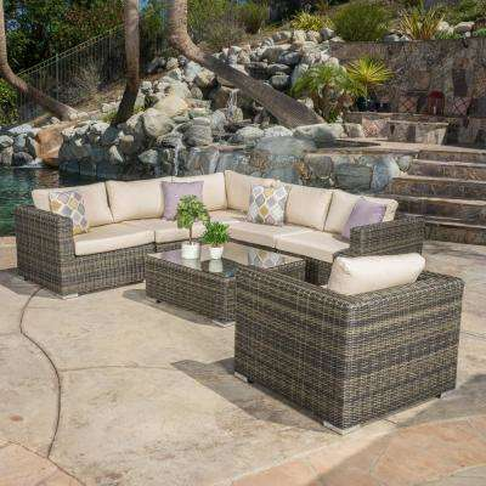 Santa Rosa Gray 7-Piece Wicker Outdoor Sectional with Sumbrella Tan Cushions