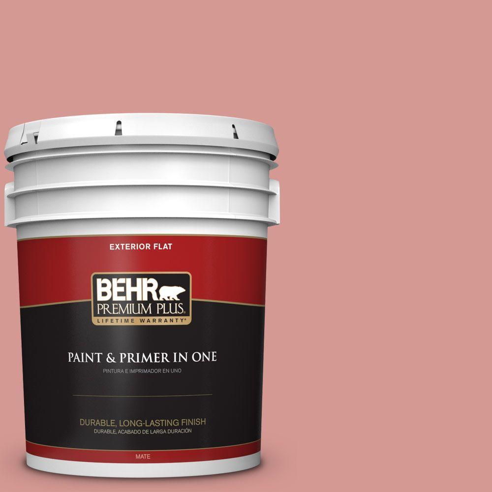 BEHR Premium Plus 5-gal. #T13-15 Shanghai Peach Flat Exterior Paint