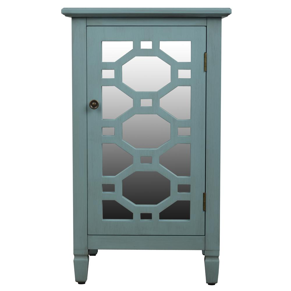 Mirrored Door Antique Iced Blue Accent End Table
